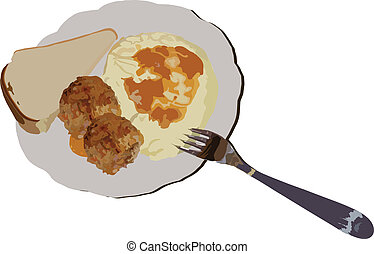 image of potato of chops of fork of bread is in one dish