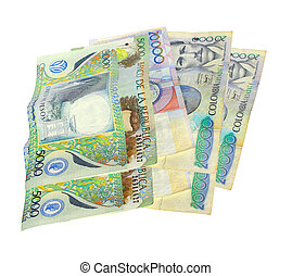 Colombian money - Colombian pesos on white background