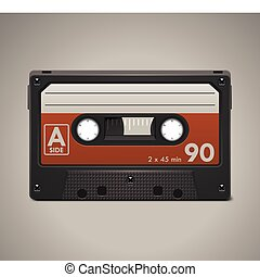 Vector audio cassette tape XXL icon - Retro audio cassette...
