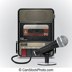Vector cassette recorderµphone - Retro cassette recorder...