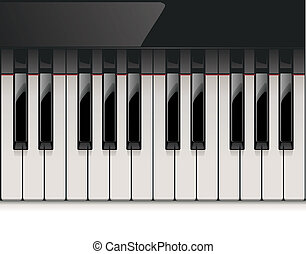 Vector detailed piano keyboard - Detailed and shiny ivory...