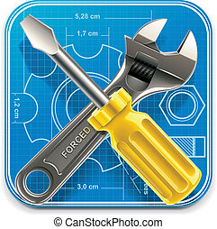 Vector wrench and screwdriver_blue
