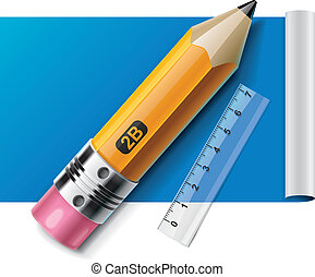Vector pencil and ruler on paper