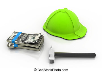 green hard hat with money