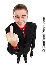 Smiling cynical businessman showing middle-finger - Happy,...