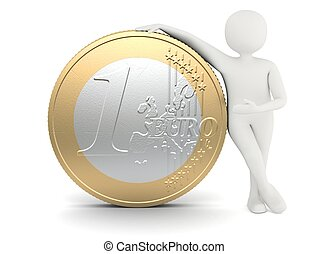 White man standing near big size euro coin - 3d white man...