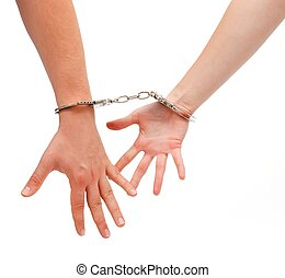 Handcuffed man and woman - Man and woman hands handcuffed...