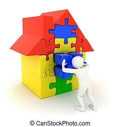 White man pushing in place puzzle house piece - 3d white man...