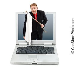 Man showing white flag from laptop