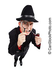 curioso, detective, Mirar, por, lupa