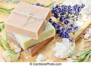 Stack of Herbal Soap with Salt - Stack of Handmade Herbal...