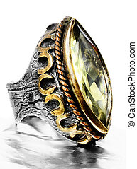 Ottoman silver ring - gold and silver vintage style ring...