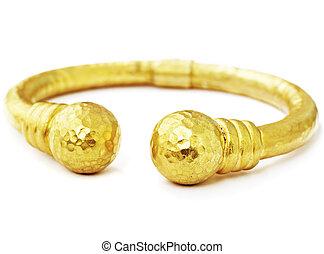 gold bracelet - artistic hand made 22 carat gold hammered...