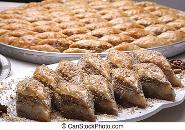 Multi layered Baklava - Close up of dish of Baklava on a...