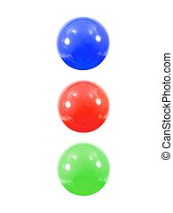 Pit Balls - Colored pit balls isoated against a white...