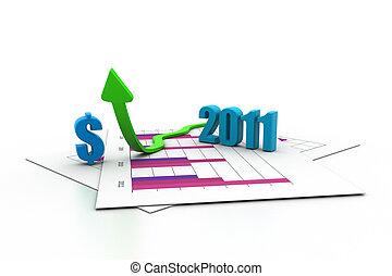 Business arrow, chart, business