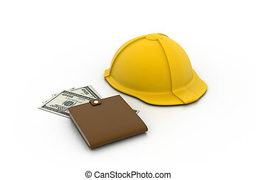 Yellow hard hat with money