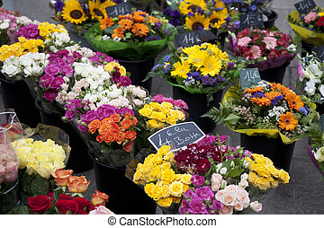 Bunches of flowers for sale on Flower Market,...