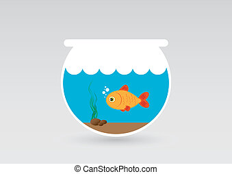 fish in aquarium - Illustration of fish swims in an aquarium