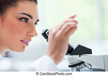 Young woman looking at a microscope slide in a laboratory