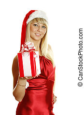 Young woman dressed as Santa with a gift.