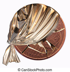 coin - A broken coin with a silver curtain