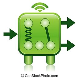 Green Wireless Relay Concept Icon - This illustration...