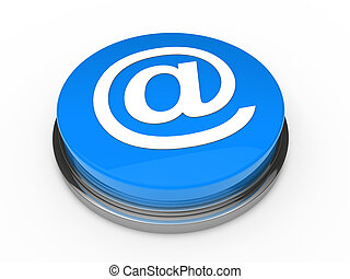 3d button email blue