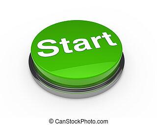 3d button start green push technology press