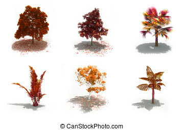 3d autumn trees pack with shadows