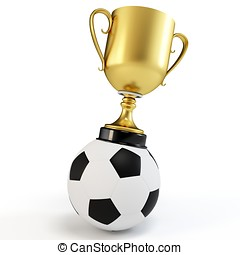 3d soccer ball with golden coup on white background