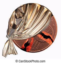 coin - A broken coin with a silver curtain