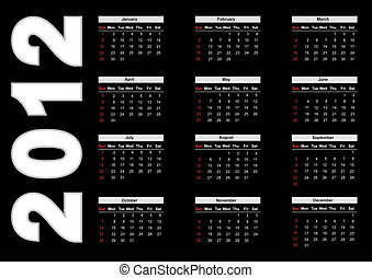 Calendar for 2012 - 2012 annual calendar template on the...