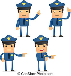 jogo, ENGRAÇADO, caricatura, policial