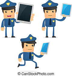 set of funny cartoon policeman in various poses for use in...