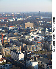 Leipzig from above - View over the city of Leipzig and the...