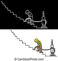 Man Vacuuming The Stairs - An image of a man vacuuming the...