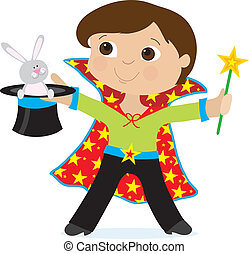 Boy Magician - A young boy dressed as a magician is holding...