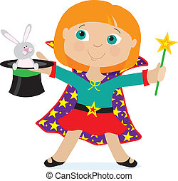 Girl Magician - A young girl dressed as a magician is...