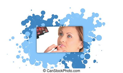 Woman showing a woman in a beauty institute against a...