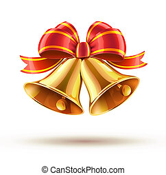 Christmas bells - illustration of shiny golden Christmas...