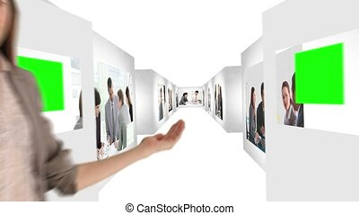 Animated company corridors about business meeting