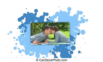 Woman showing a couple spending time together against a...