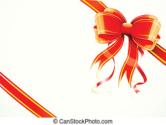 gift bow and ribbon - Vector illustration of shiny red gift...
