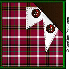 background red-green plaid with buttons