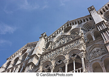 Ferrara cathedral - romanesque facade of Ferrara cathedral -...