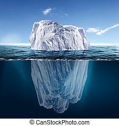Melting Iceberg - Antarctic iceberg in the ocean Beautiful...