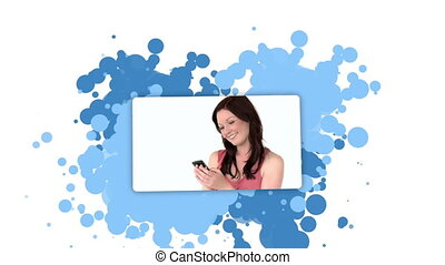Woman showing herself using a cellphone against a spotted...