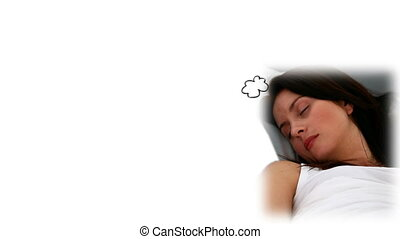 Brunette woman sleeping with a copy space