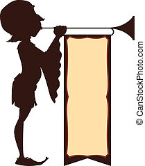 Court Trumpeter Illustration - Silhouette illustration of a...